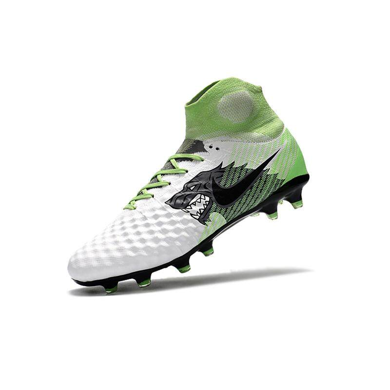 Baru FG Nail Football Boots Pria Tinggi Membantu 3D Tenun Fly Line Magista Obra X Wolf Grafik ACC Sepak Bola Sepatu Putih Hijau-Intl