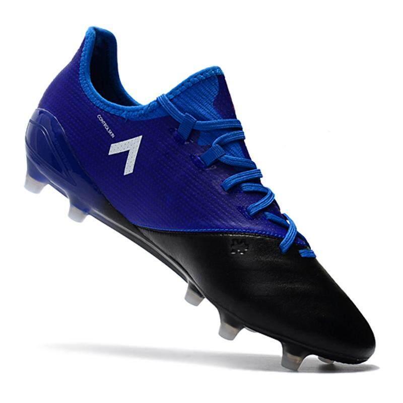 Baru FG Nail Sepatu Sepak Bola Pria Kangaroo ACE 17.1 Leather FG Sepatu Sepak Bola Menenun Soccer Cleat Lace-Up Athletic Sepatu Biru-Intl