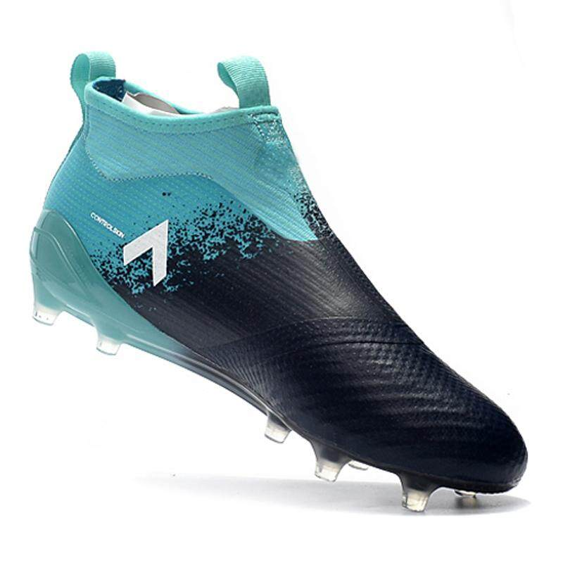 Pria Baru Sepatu Sepak Bola ACE 17 + Purecontrol FG Nail Tinggi Membantu Football Sepatu Double Layer Insids Tidak Ada Tali Sepatu Soccer Cleat Sepatu Olahraga Sepatu Sneakers-Intl
