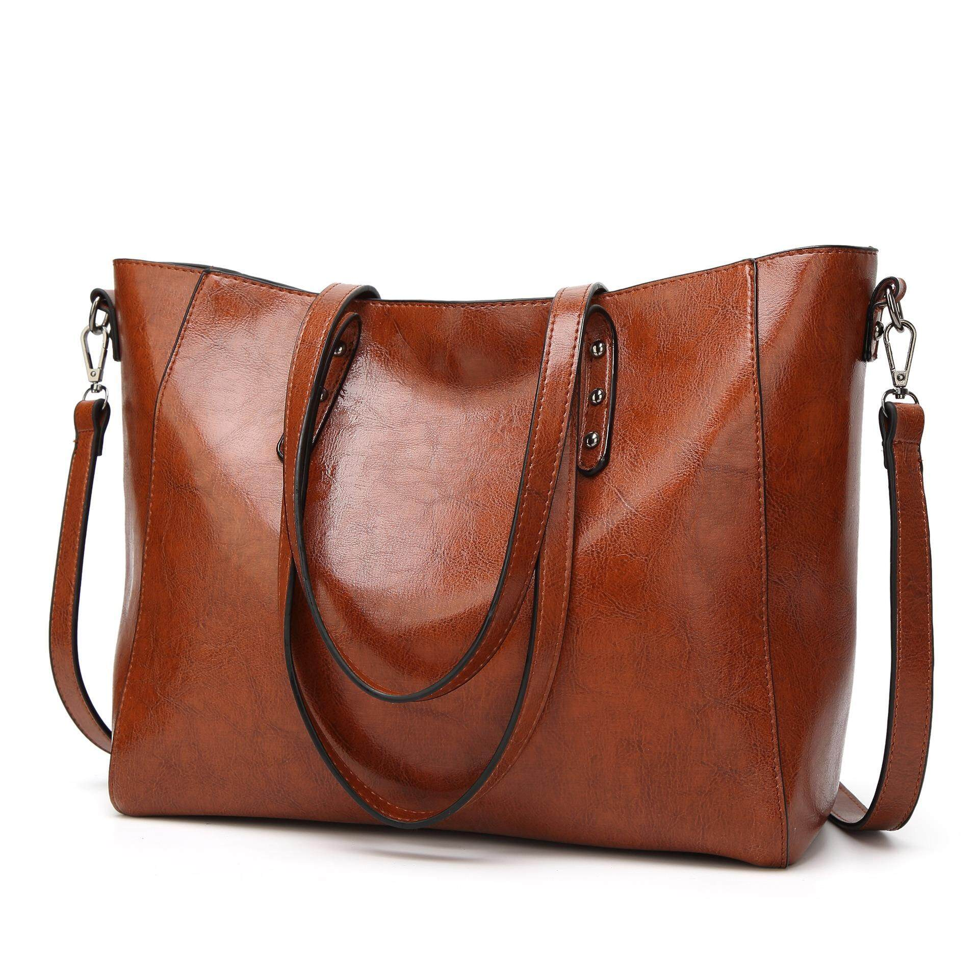 6fc8c591b5 2018 Spring New Oil wax Women's Leather Handbags Luxury Lady Hand Bags With  Purse Pocket Women