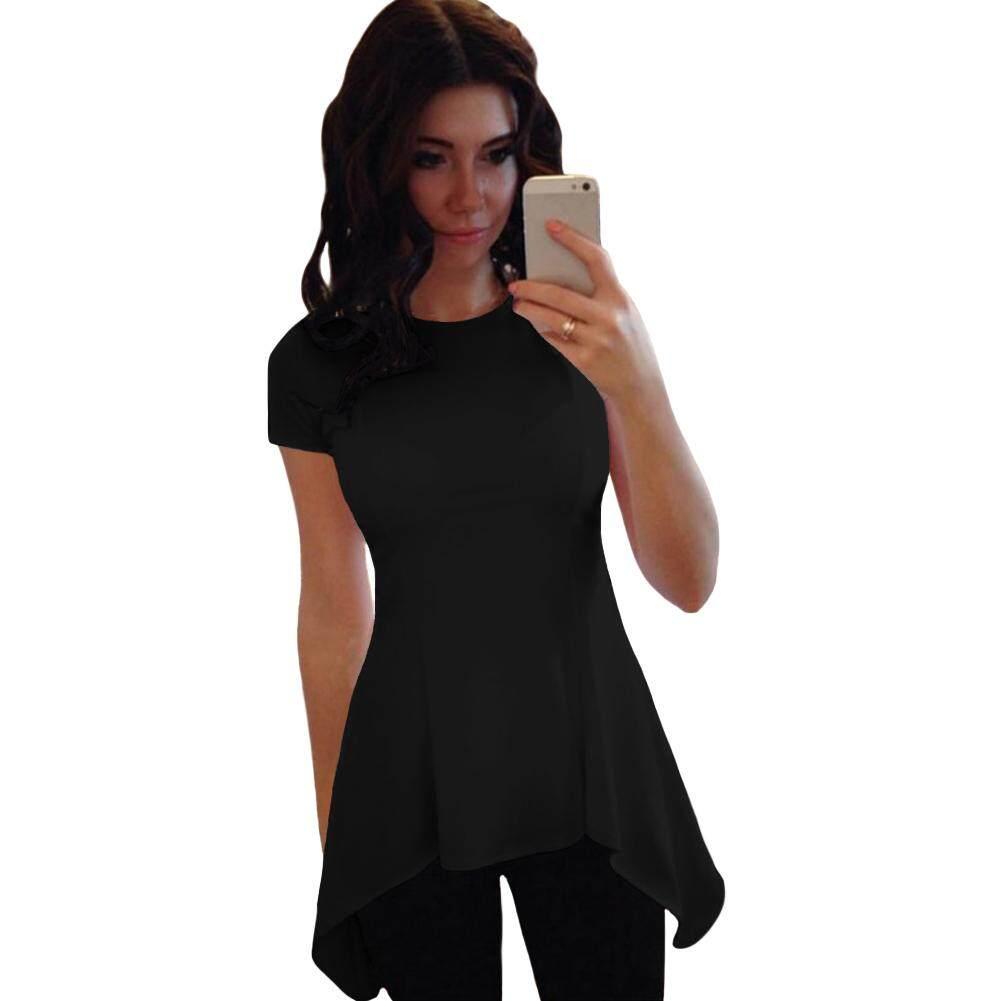 New Sexy Wanita T-Shirt Blus Tidak Teratur Hem Peplum O-leher Lengan Pendek