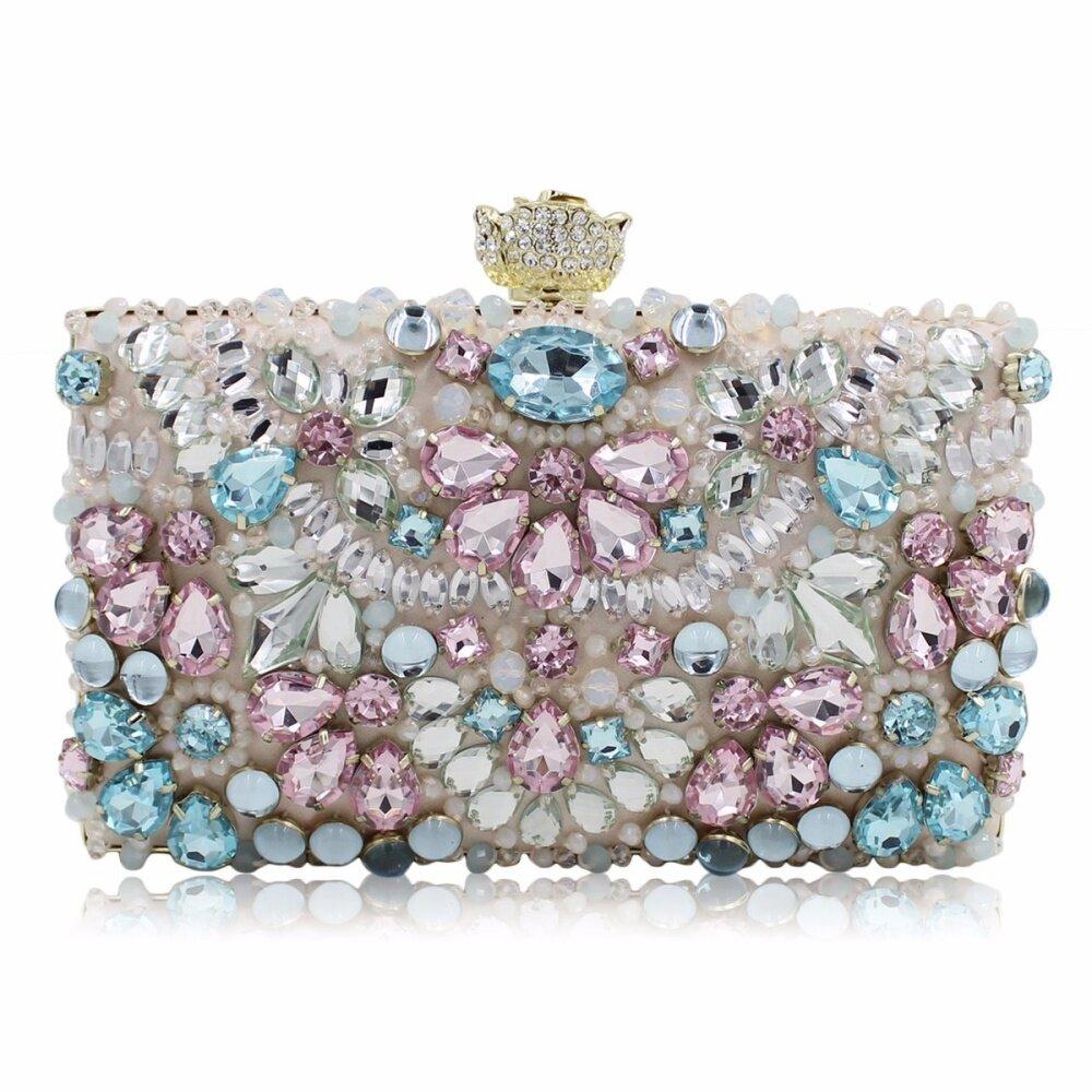 New Women Handmade Beaded Clutch Bag Elegant Crystal Rhinestone Diamond Pearl Evening Party Purse Banquet Rose Head Pink 104 - intl