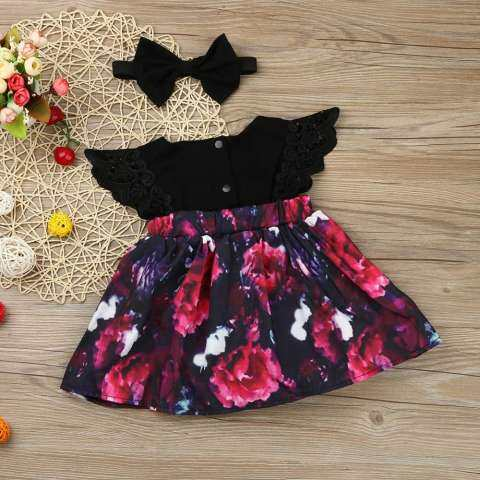 Newborn Infant Baby Girl Floral Romper Princess Dress+Headband Sister Outfit Set 5