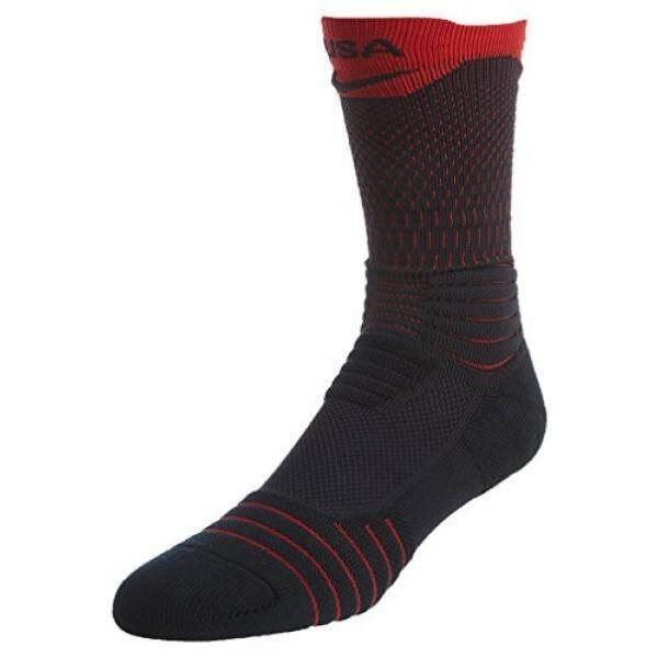 Nike Elite Versatility Amerika Serikat Bola Keranjang Awak Kapal Kaus Kaki (475 Gelap Obsidian/Universitas Merah, S 4-6) -Internasional