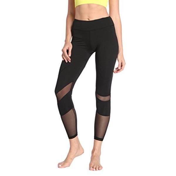 Persun Yoga Celana Tinggi Pinggang dengan Kantong Olahraga Capris Celana Kerja Legging untuk Wanita, Hitam,-Internasional