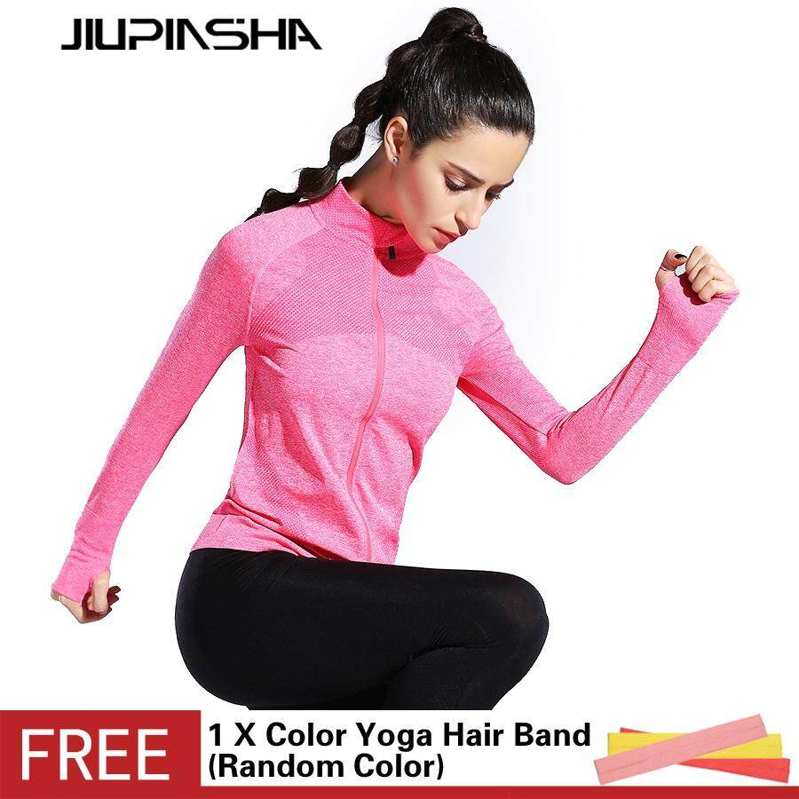 Quick Dry Gym Yoga Tops Women High Elastic Tights Fitness Solid Color Long Sleeve Zipper Jacket Running Sportwear - intl