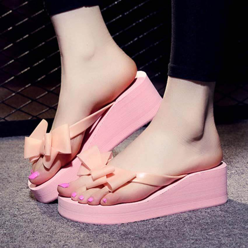 208b87abf12 Summer Ladies Women Slippers Bow Clip Flip-flops Thick Non-slip High Heel  Sandals