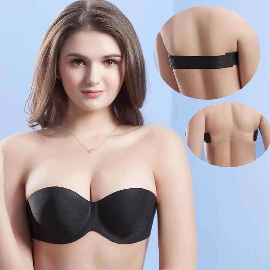 cc96b8d9ea Summer Sexy Strapless Bra Seamless Underwear Thin Chest Wedding Slip Back  to Gather Bra Black -