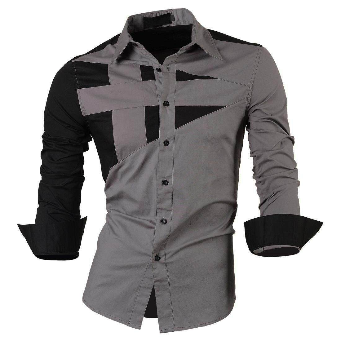 Top Quality Mens Slim Fit Unique Neckline Stylish Dress Long Sleeve Casual Shirt Gray Size XL/US M - Intl - intl