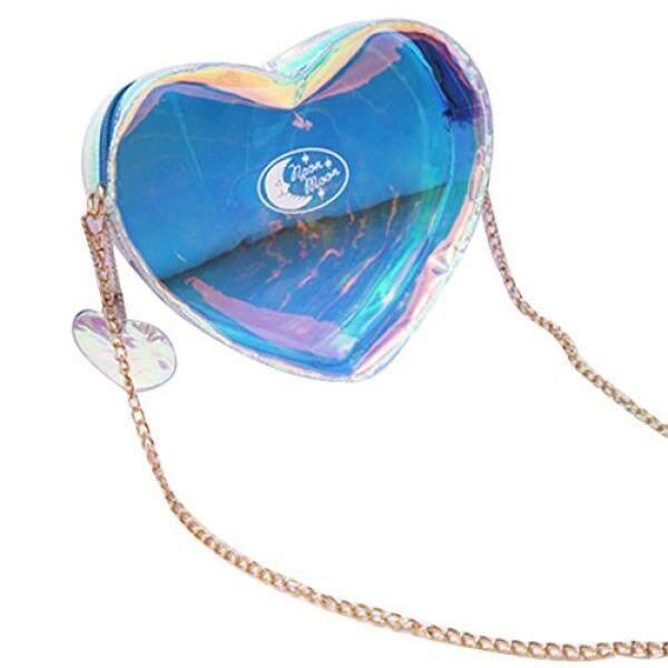 Transparent Heart Shape Laser Crossbody Bag Purse Tote Shoulder Bag Handbag Pouch Blue - intl