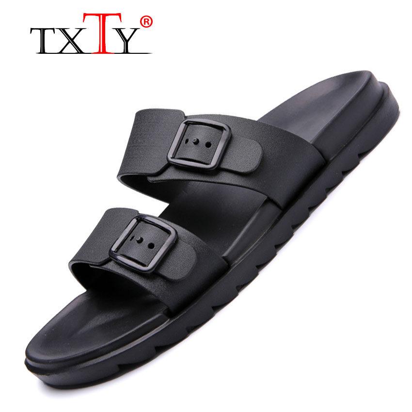TXTY Men Leather Beach Shoes Outdoor Summer New Male Mens Slide Flip Flops Sandals(black