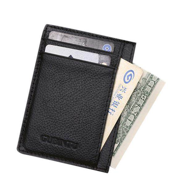 Ultra-thin Mini Leather Credit Card ID Holder Money Clip Wallet BK - intl
