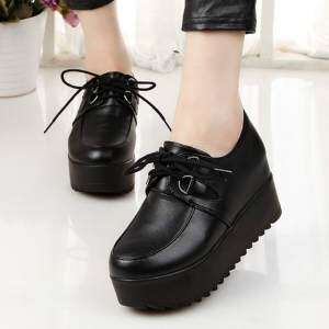 Ulzzang British black lace patent leather small leather shoes single shoes (225 black)
