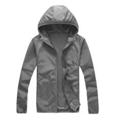 Unisex Outdoor Pakaian Pelindung Sinar Matahari Tabir Surya Kulit Windbreaker UV Tahan Jaket Lengan Panjang Wanita Pria 25-C1 (Grey) -Intl