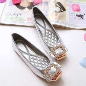 Victory Women New Rhinestones Square head Peas shoes Large size Shoes Boat shoes Ballet Flat shoes(Silver)