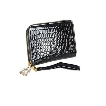 WEST BIKING? Lady's Fashion Large Capacity Crocodile Pattern With Belt Long Double Zipper Wallet(Black) - intl