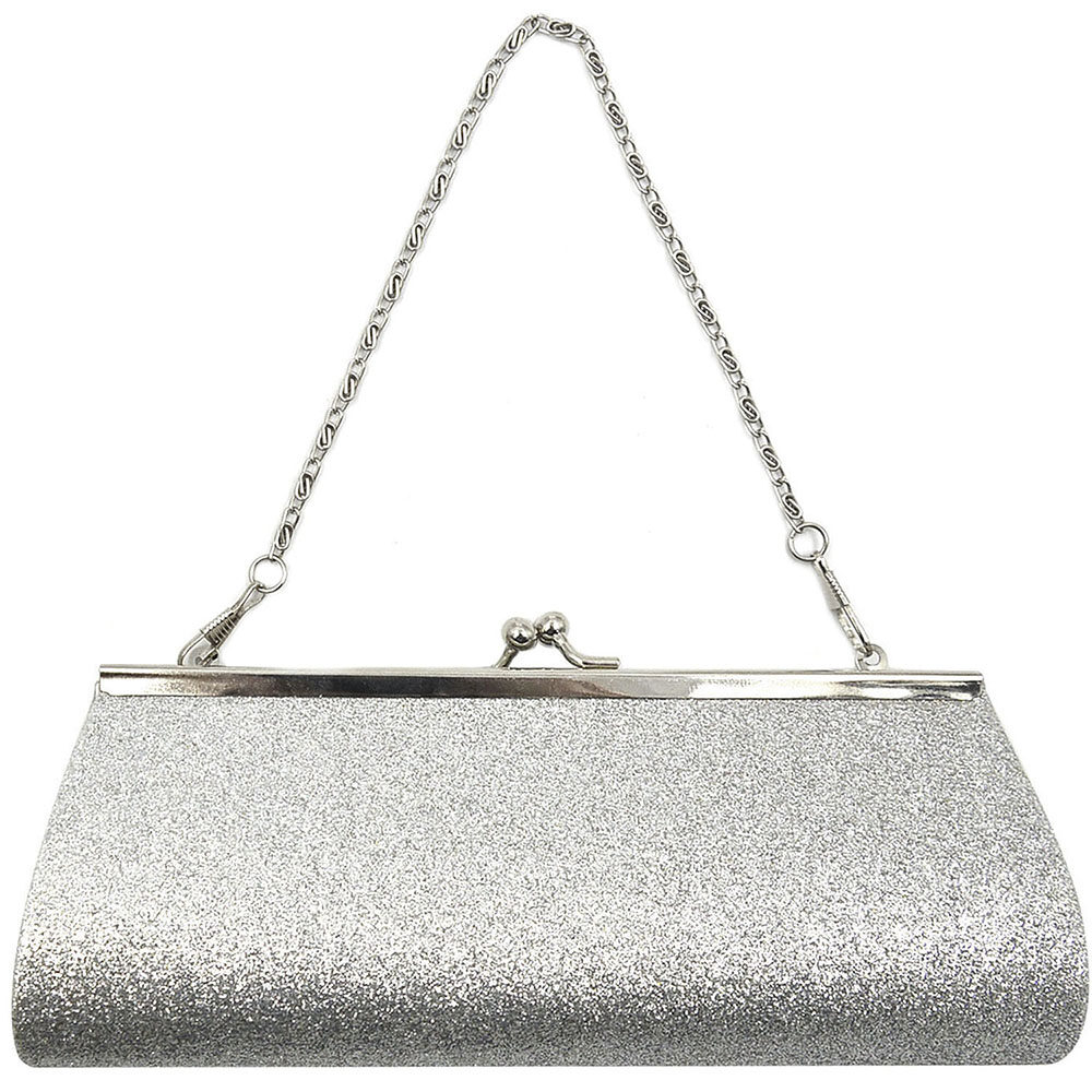 Women Ladies Girls Sparkly Glitter Clutch Handbag Wallet Wedding Bridal Prom Party Evening Purse Sliver - Intl By Elek.