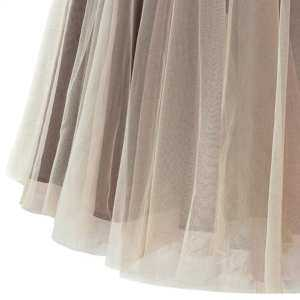 Women Lady Organza Tutu Skirt Pleated Maxi Dress