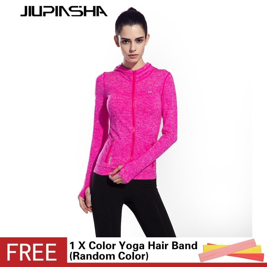 Women Long Sleeve Sports Fitness Quick Drying Breathable Solid Color Zipper Hoodie Coat - intl