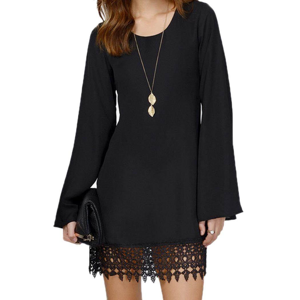 Women Sexy O-Neck Loose Shirt Long Sleeve Plus size Formal Casual Lace Dress Black