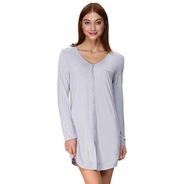 502d3b89d8c7 Zexxxy Women Plain Loungewear Stretchy Long Sleeve Short Dress Shirt Grey  Size M ZE73-2