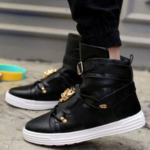 ZUUCEE Fashion Men Boots Mid-Calf Boots Punk Metal High-Top Shoes (black)【Free Shipping】
