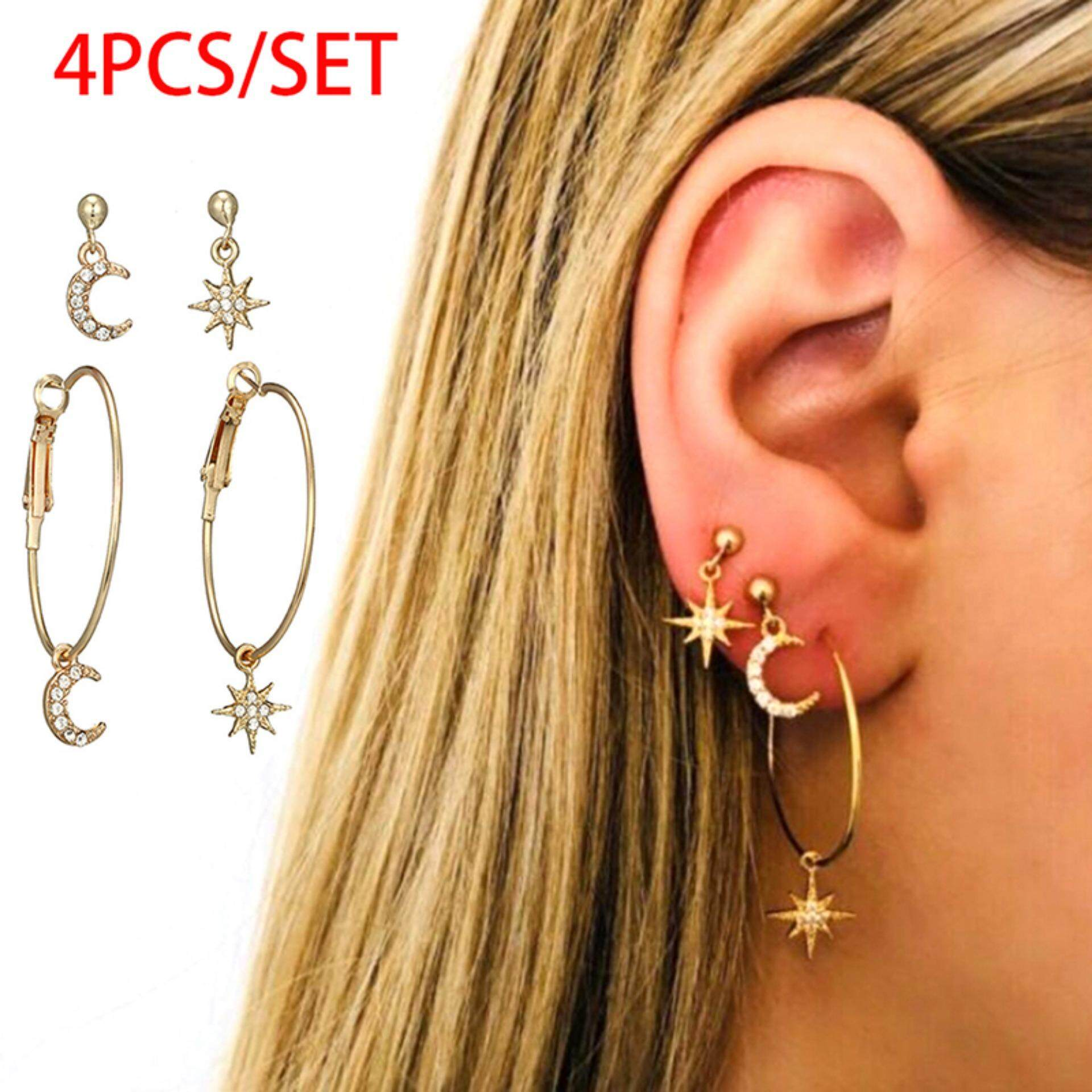 Jettingbuy Bohemian Large Circle Earrings Ear Clip Crystal Moon Star Stud Jewelry