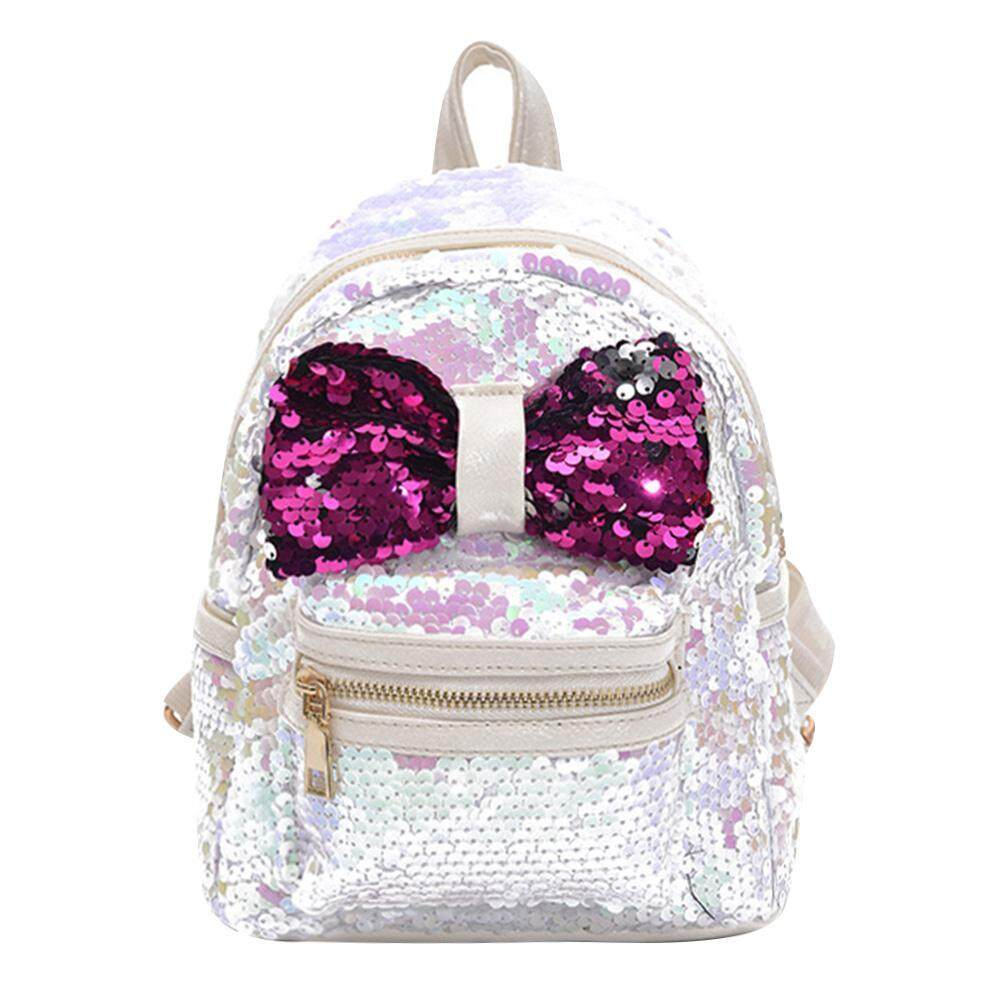 131476ee0904 Shining Sequins Bowknot Women Backpack Girls Small Party Shoulder Schoolbag
