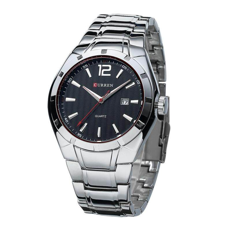 360DSC Curren 8103 Mens 3ATM Waterproof Quartz Stainless Steel Band Date Function Wrist Watch - Silver + Black Malaysia