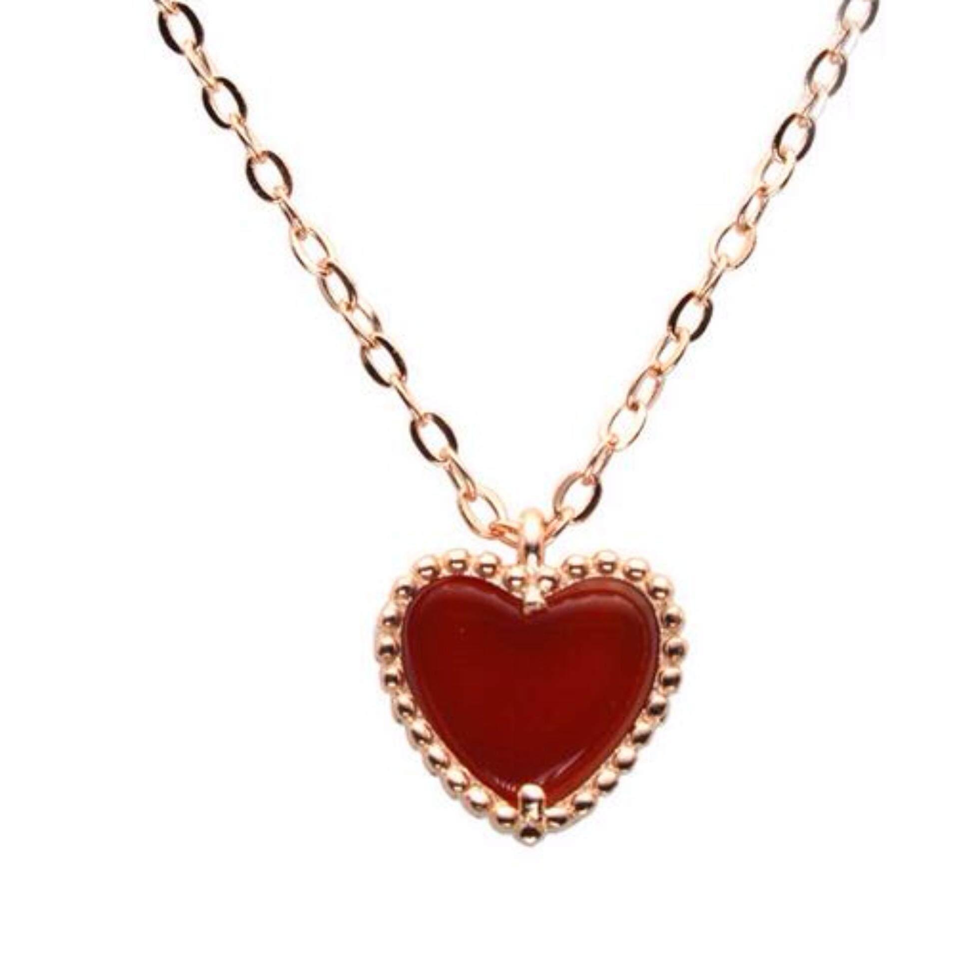 Glasses Frame BigGo Source · 925 Sterling Silver Kalung Rose Emas Kalung Bintang dengan Merah Chalcedony Lady Perhiasan Perak Intl
