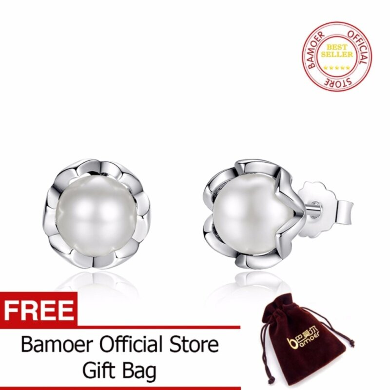 BAMOER Free Shpping 100% 925 Sterling Silver Cultured Elegance Stud Earrings With White Freshwater Cultured Pearl Jewelry PAS420