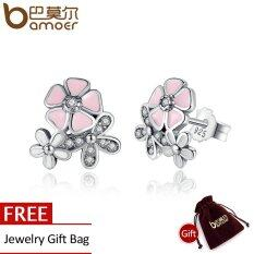 BAMOER Free Shpping 925 Sterling Silver Poetic Daisy Cherry Blossom Drop Earrings Mixed & Clear CZ