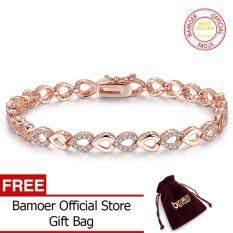 Bamoer Indah 18 K Mawar Emas Berlapis Rantai Jantung & Link Gelang untuk Wanita Bersinar AAA Kubik Zircon Perhiasan Kristal JIB019