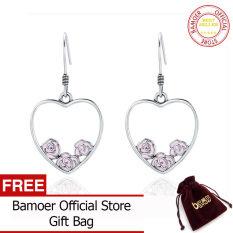 Bamoer Romantis 925 Sterling Perak Mawar Cinta Di Hati Bentuk Jatuh Anting-Anting untuk Wanita Asli Perak Perhiasan Bijoux SCE173
