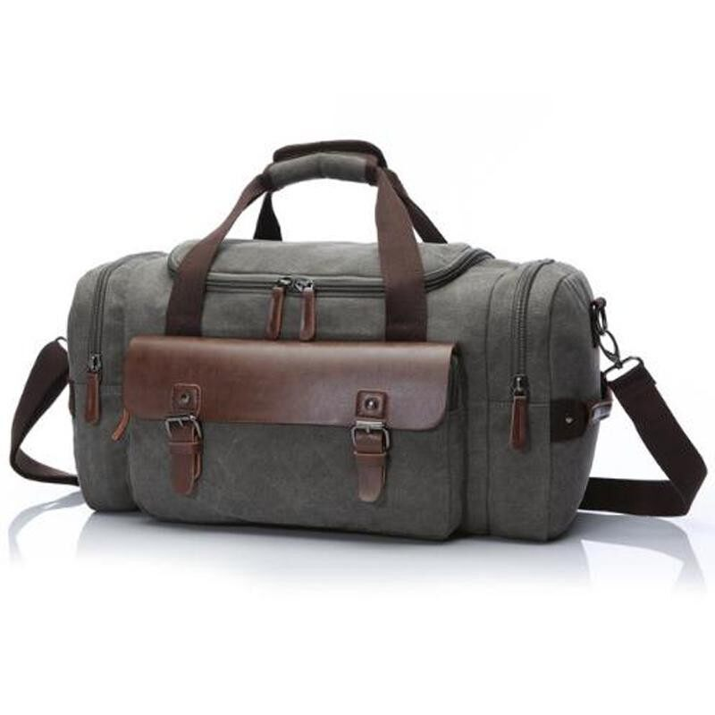 02ab84a462c8 Canvas Men Travel Bags Leather Carry on Luggage Bag 2018 Men Duffel Bag  Multifunctional Travel Tote
