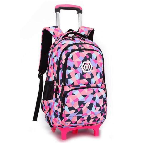 Giá bán Children Removable Trolley Backpack Girl Boy Kids Wheeled School Bag With Wheels#Black 2 Wheel - intl