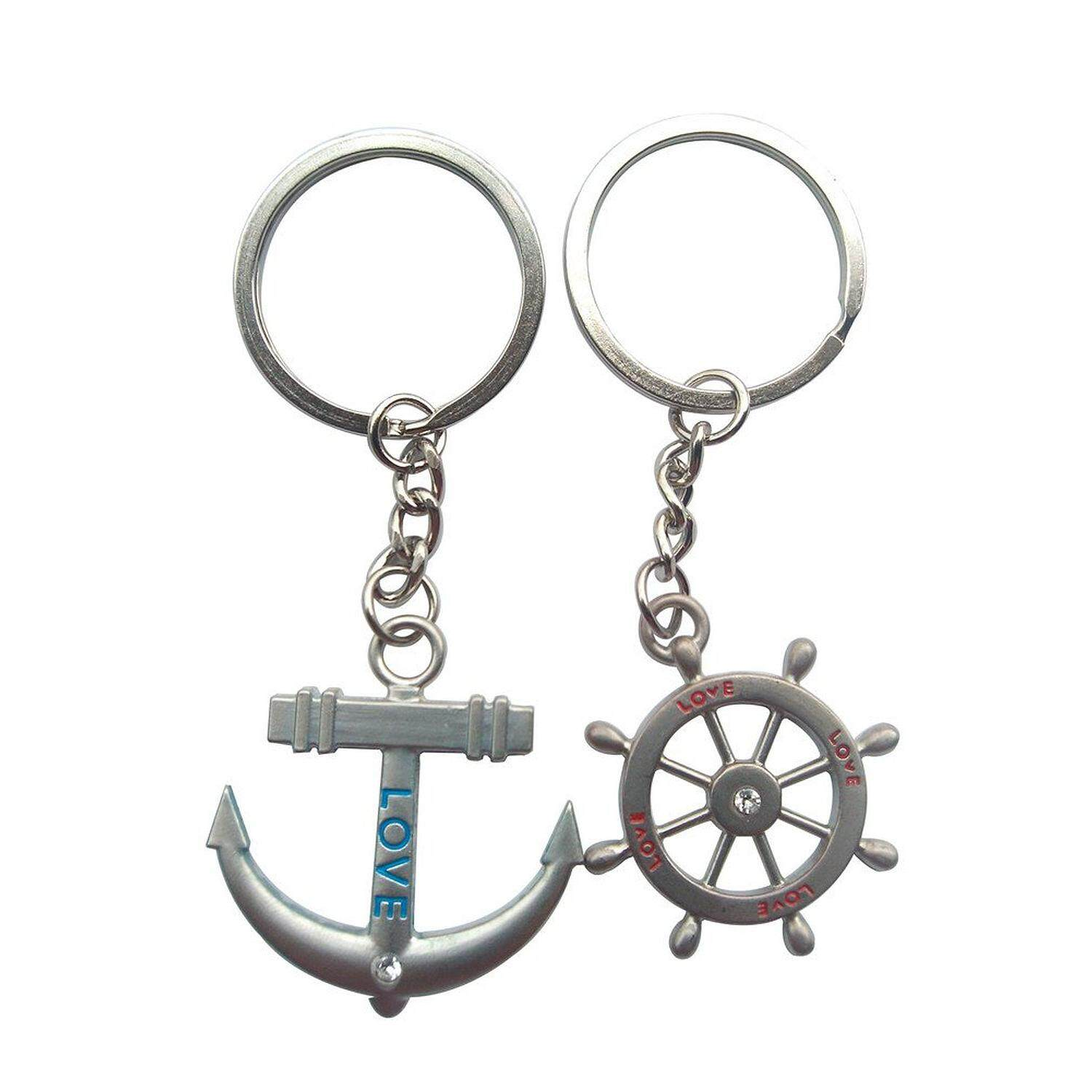 Hang-Qiao 1 Pairs Cupid Arrow Couple Keychain Lovers Pendant Key Ring Silver - Intl