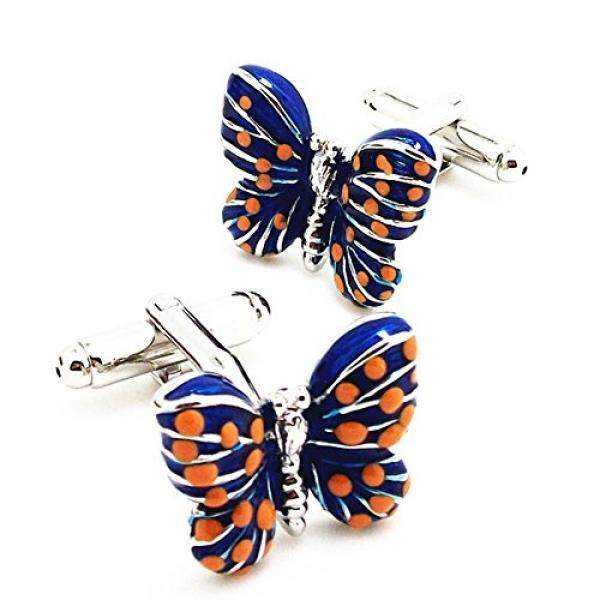 Covink® Blue Butterfly Cufflinks Lovers Business Casual French Cuff Shirt Sleeve in Enamel with Gift Box - intl