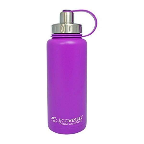 Ecovessel Boulder Trimax Ganda Opening Terisolasi Anti Karat Air Bottle dengan Tea-Buah dan Es Penyaring-32 Oz. -Ungu-Internasional
