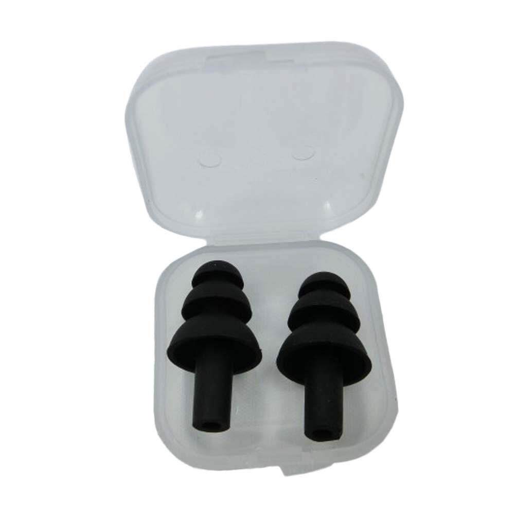 Fancyqube 1 Pair Silicone Ear Plugs Anti Noise Snore Earplugs Comfortable Swimming Ear Plug Black -