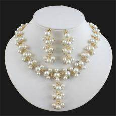 Modis Wanita Perhiasan Set Panjang Liontin Emas Imitasi Mutiara Kalung Anting-Anting Set untuk Hadiah