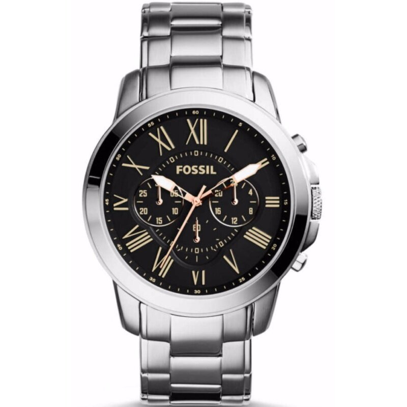 Fossil Mens Grant Chrono Black Dial Stainless Steel Watch FS4994 Malaysia