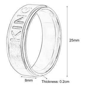 GOOD Romantic Stainless Steel Ring King Ring or Queen Ring for Lovers Couple Rings 11# - intl