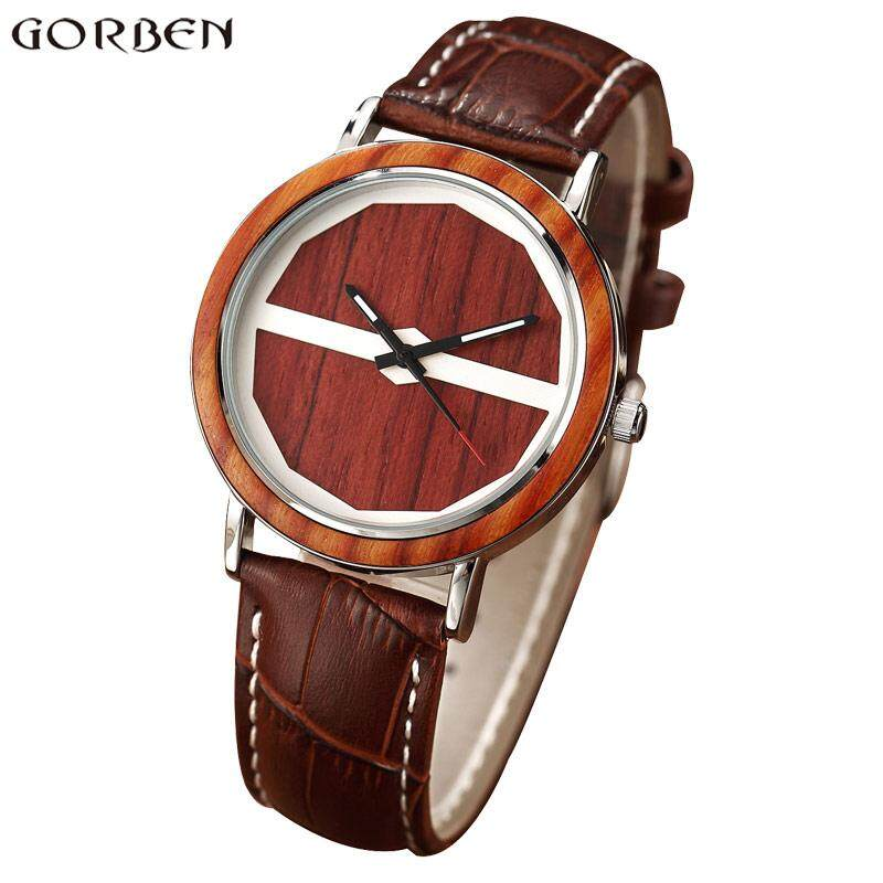 Gorben New Hot Leather Strap Mens Womens Watches Unique Polygon Wooden Dial Quartz-watch Business Casual Unsiex Ladies Best Watch Gifts 32820301694 - intl