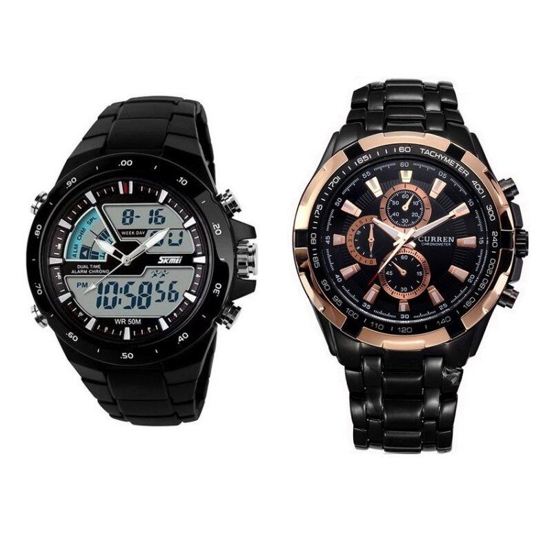 Men Dual Display Waterproof Multi-function LED Sports Watch - Black + Curren 8023 Mens Black Stainless Steel Strap Watch Malaysia