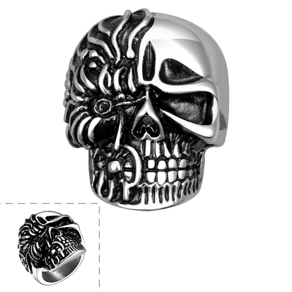 stone red jewelry skull mens men for steel chain punk with rings stainless product ring halloween skeleton
