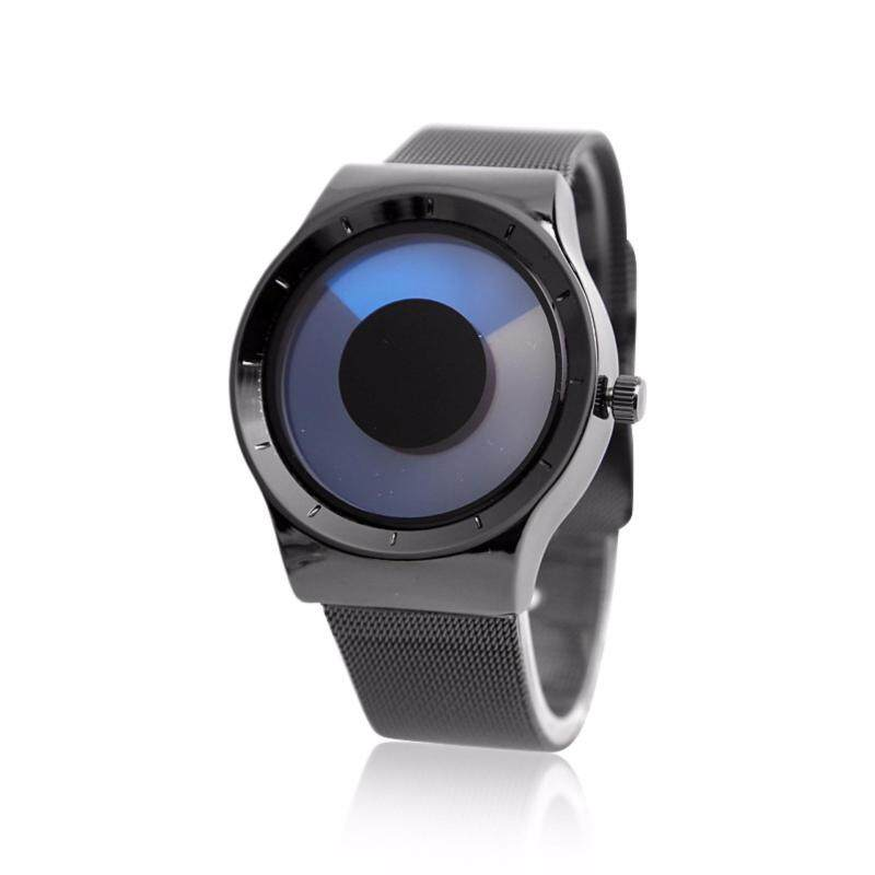 New Fashion Creative Concept Swirl no pointer luminous simplicity Watch Black Watchband (Blue) (Intl) Malaysia