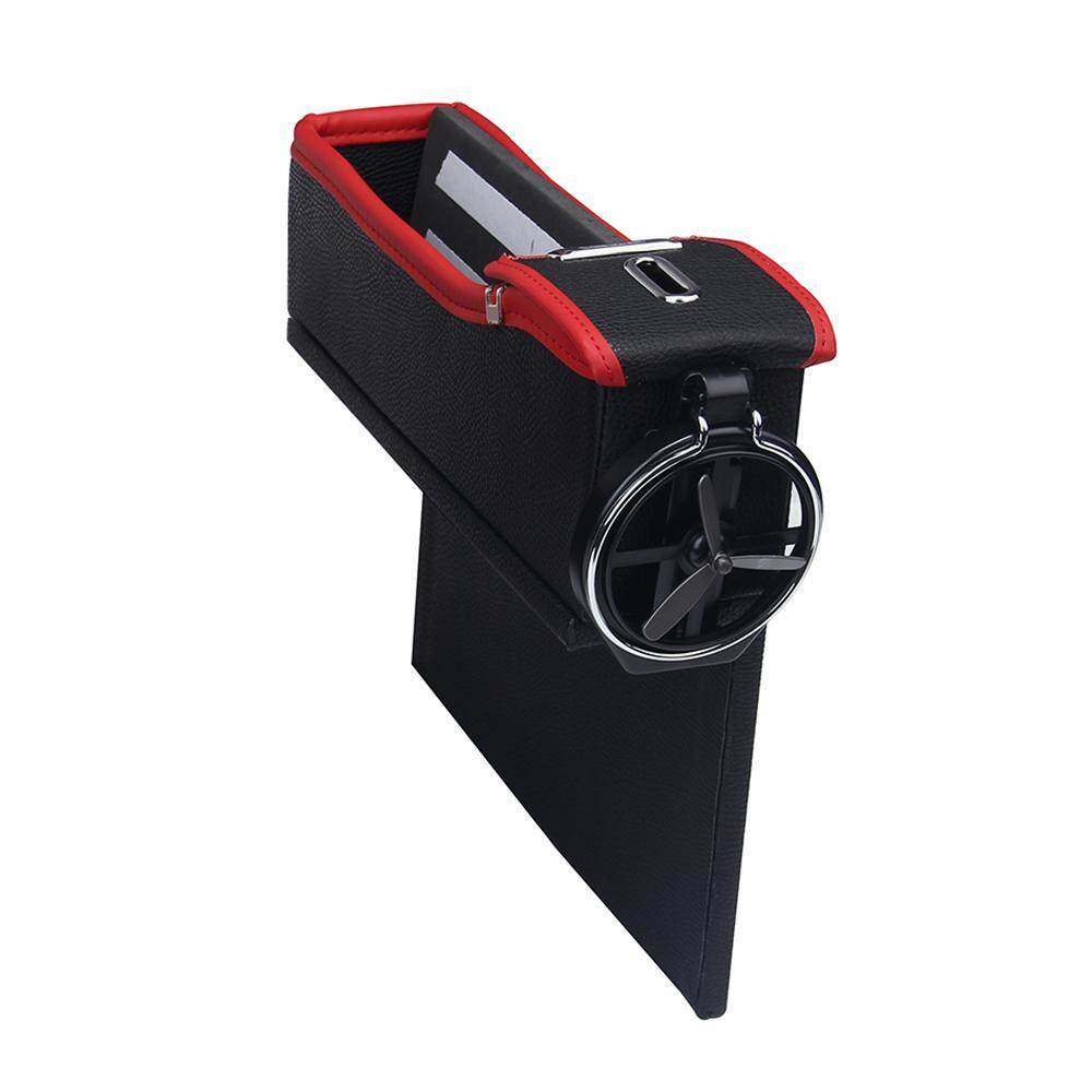 noion Console Side Pocket, Leather Car Seat Gap Catcher With Coin Organizer And Cup Holder, Black And Red, 1Pcs, Right - intl