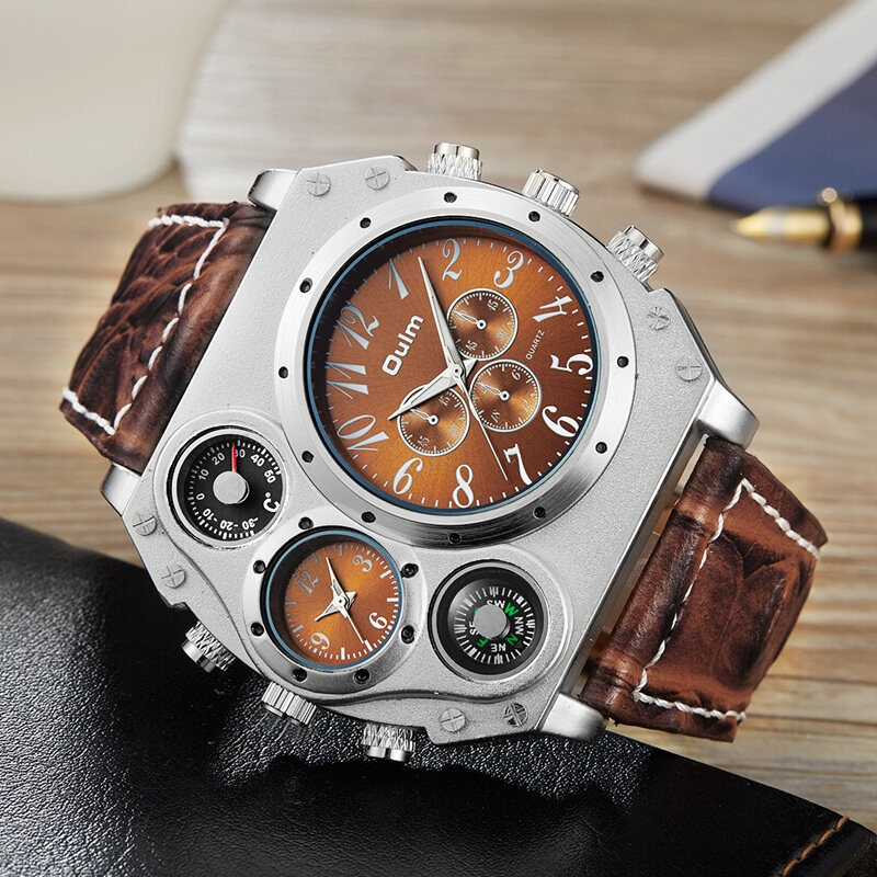 Oulm Mens Designer Watches Luxury Watch Male Quartz-watch 3 Small Dials Decoration Leather Strap
