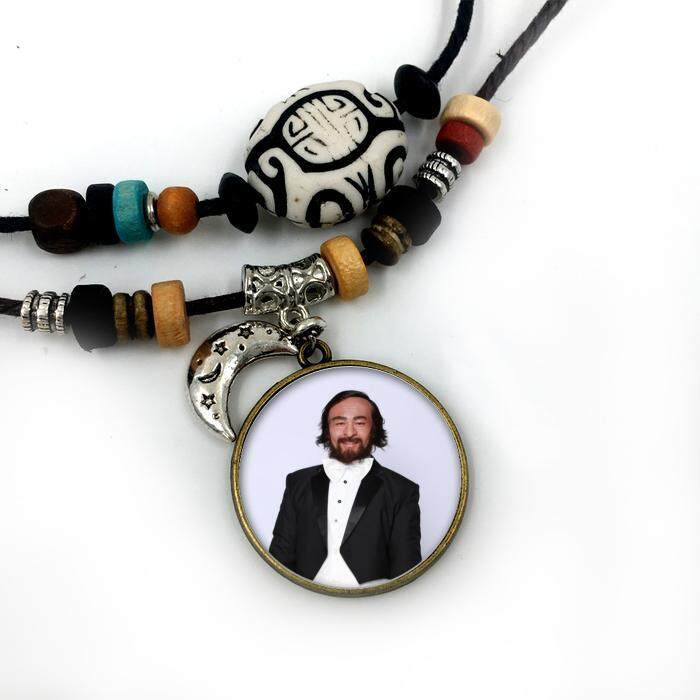 Pendants Necklace Pavarotti star for Men Womens Jewelry Fashion Silver Plated Glass moon Beaded Facebook cotton rope chain cool jewelry - intl